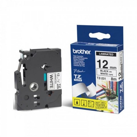 Cinta Brother tze231 negro en blanco, 12mm x 8m