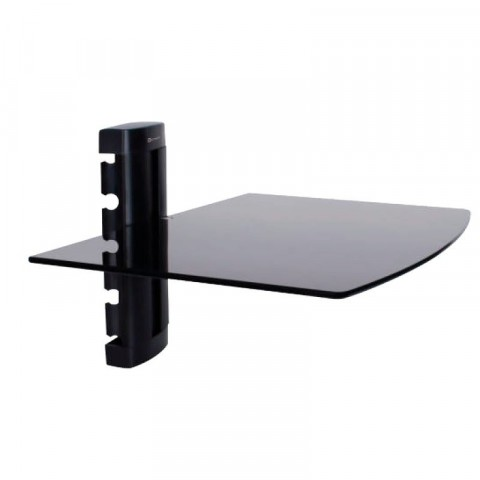 GETTTECH CRYSTAL WALL-MOUNTED AV SHELF, UP TO 22 LB (EACH) EASY TO INSTALL HEAVY DUTY GLASS BLACK (TW-1432)